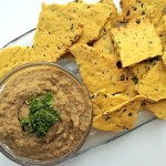 Gluten Free Chickpea Crackers with Eggplant Dip