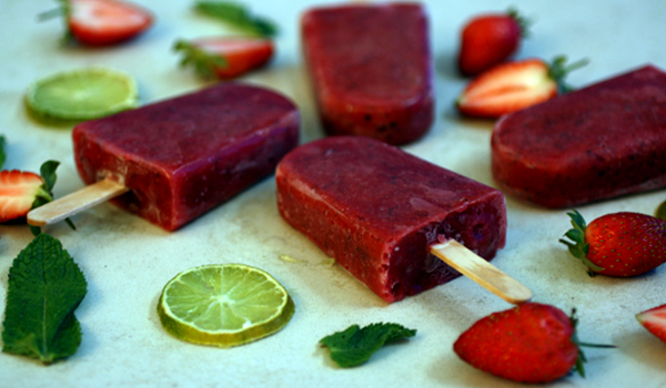 Strawberry Mint and Lime Ice Lollies