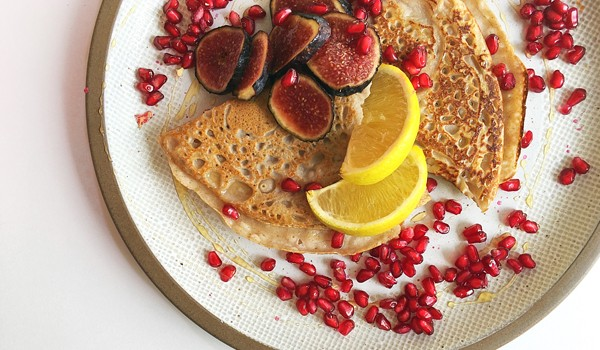 Buckwheat Crepes with Pomegranate and Figs