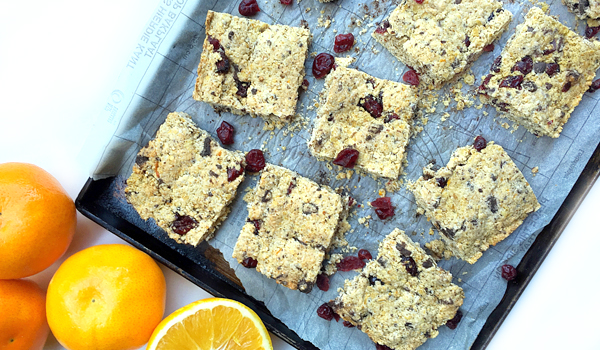 Cranberry Orange and Chocolate Chunk Oat Bars