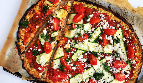 Cauliflower Pizza Crust with Ricotta, Baby Marrows and Tomatoes