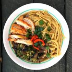 Chicken Noodle Bowl with Bok Choy and Mushrooms