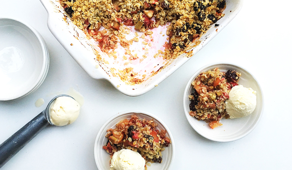 Rhubarb strawberry and apple crumble
