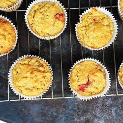 Roasted Strawberry Banana Oat Muffins [Gluten Free, Dairy Free Refined Sugar Free]
