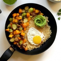 Nourishing Roasted Vegetable Bowl with Couscous and Eggs