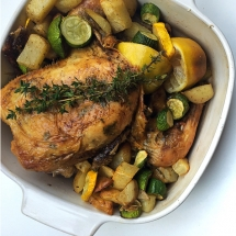 Lemon Thyme and Garlic Roasted Chicken