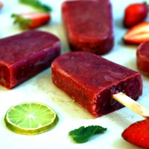 Strawberry Mint and Lime Lollies