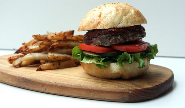 Healthy Burgers with Homemade BBQ Sauce and Baked Hot Chips