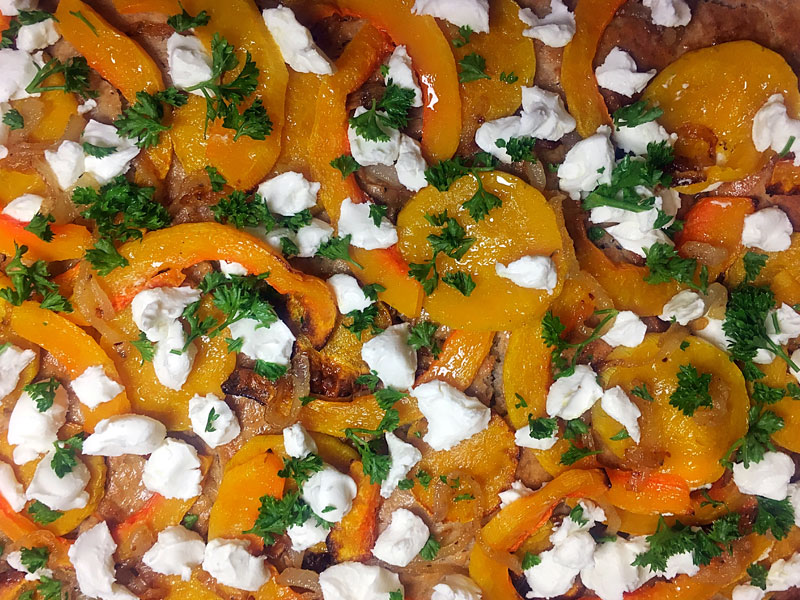 Roasted Butternut, Caramlised Onion and Goats Cheese Rye Flatbread