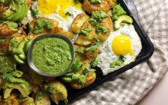 Smashed Potatoes with Fried Eggs, Avocado and Hemp Seed Pesto Recipe