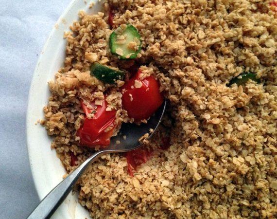 Savory parmesan and vegetable crumble