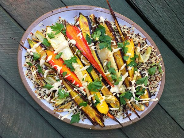 Roasted Rainbow Carrots & Fennel with Quinoa and Tahini