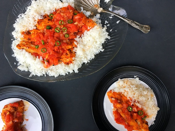 Sweet and Spicy Hake with Roasted Tomatoes