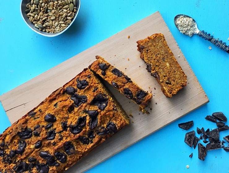 Gluten Free, Refined Sugar Free and Vegan Pumpkin Bread with Chocolate Chips