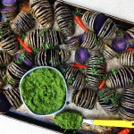 Purple Hasselback Potatoes with Chimichurri