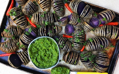 Purple Hasselback Potatoes with Chimichurri