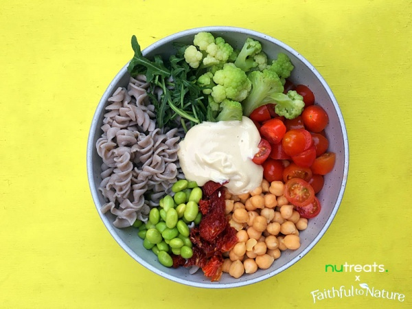 Spring Buckwheat Pasta Salad with Tahini
