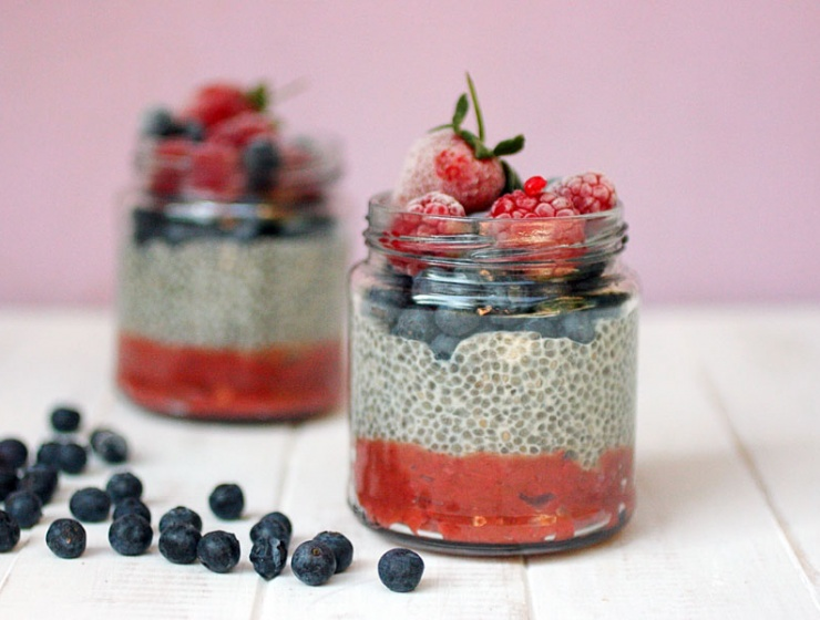 Rhubarb and Strawberry Chia Pudding