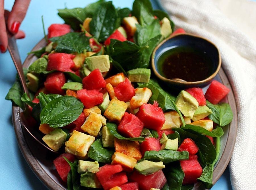 Watermelon, Avocado and Halloumi Salad