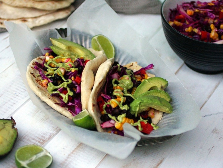 Stuffed Black Bean Tacos with a Lime Herb Cashew Sauce