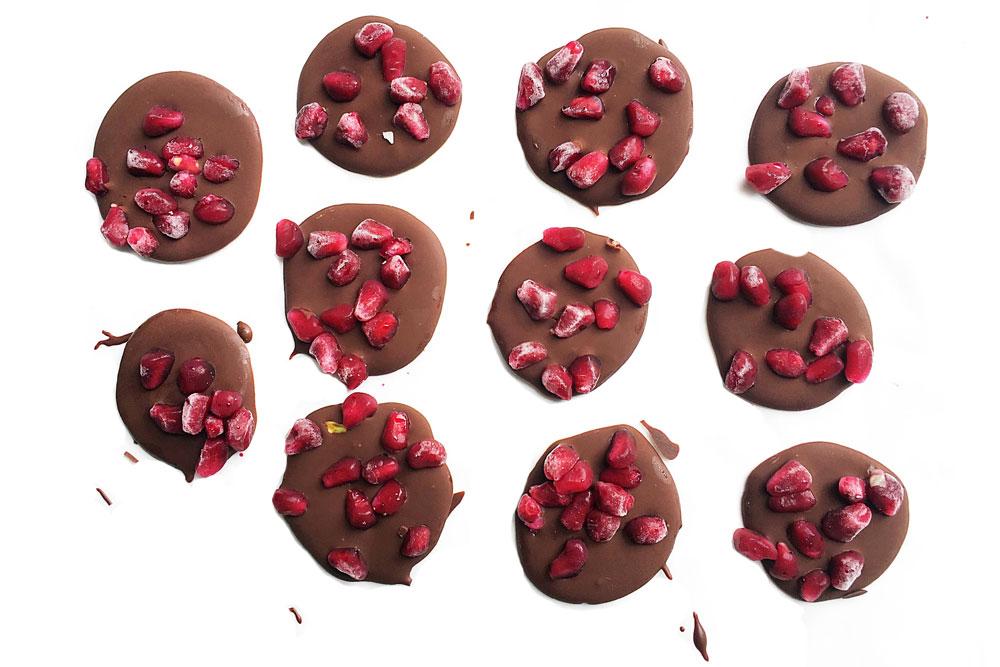 Dark Chocolate Pomegranate medallions