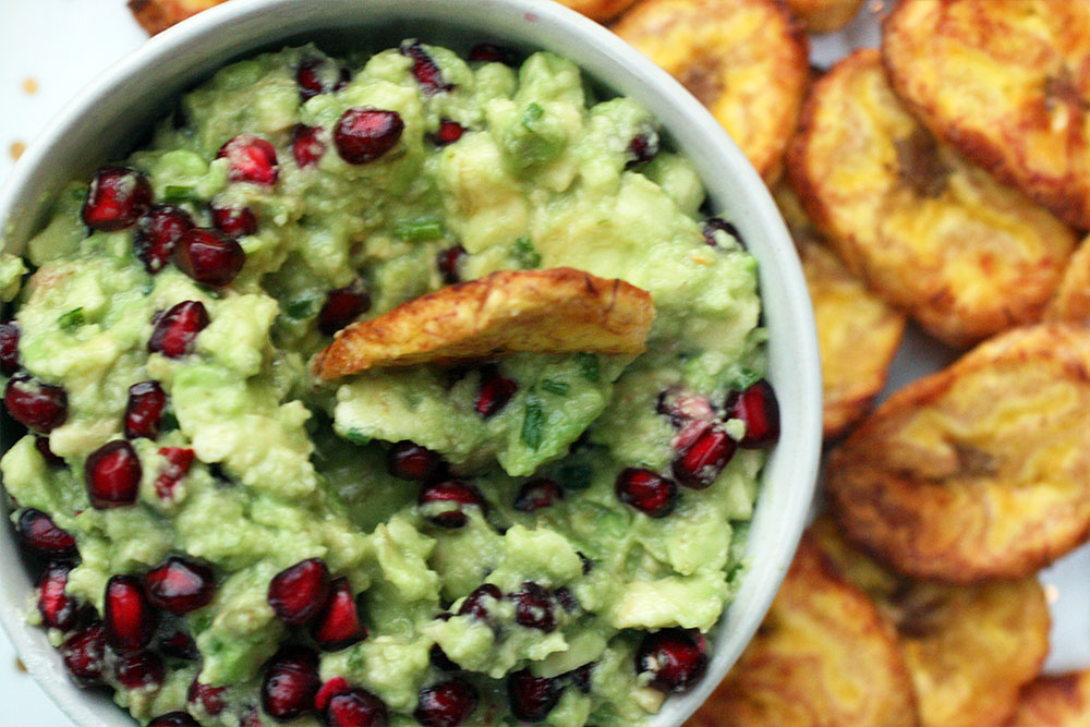 Plantain Chips with Avocado Lime Pomegranate Dip