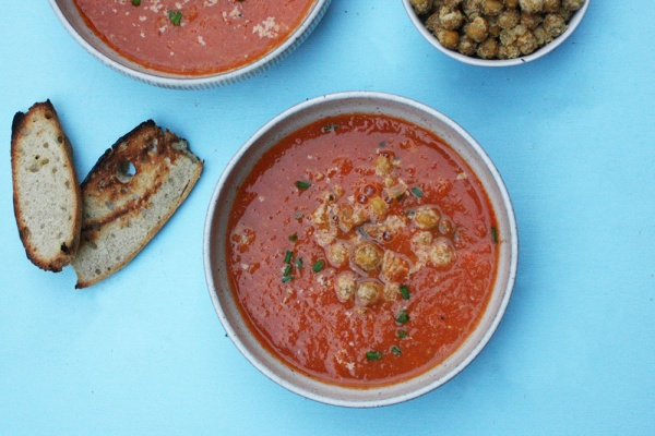 Roasted Tomato Soup with Cheezy Chickpea Croutons