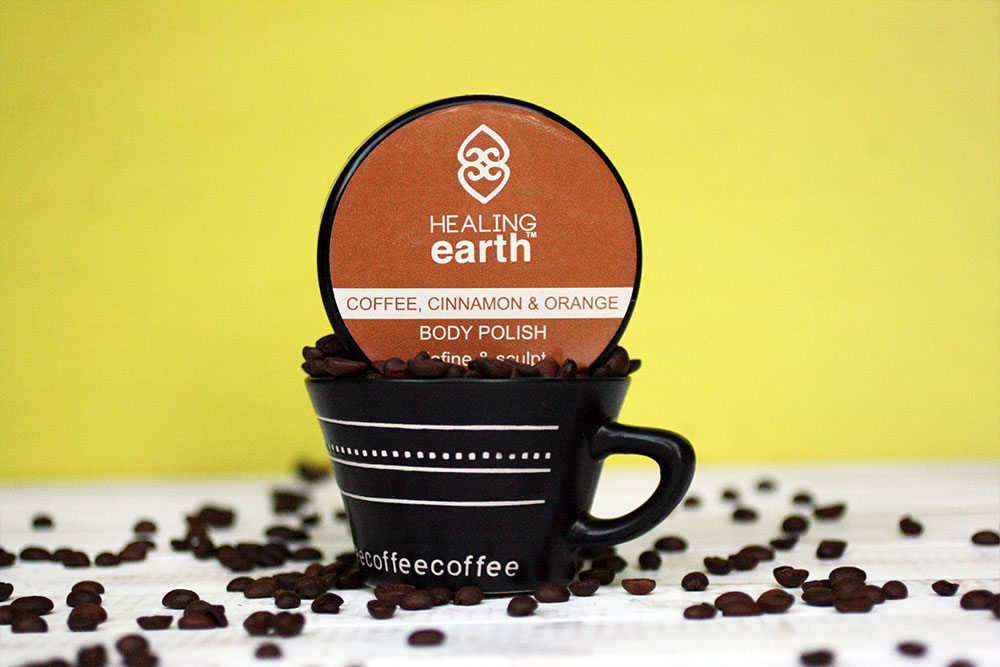 6 Coffee Infused Products that aren't Coffee - Healing Earth Coffee Cinnamon Orange Body Polish
