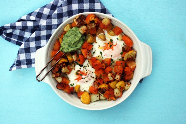 Butternut & Potato Hash and Eggs with Avocado Chimichurri