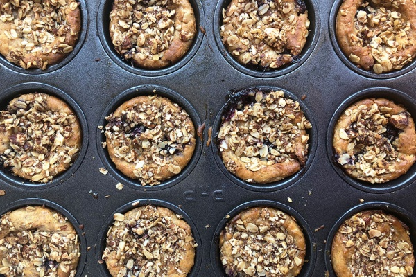 Vegan Yogurt Muffins with Apple and Blueberries