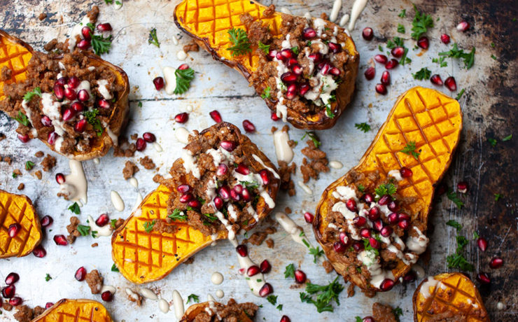 Stuffed Butternut with spicy mince, pomegranate and tahini sauce