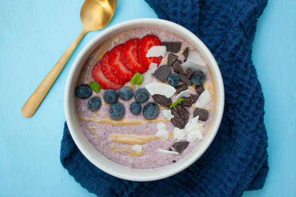 Strawberry and Cream Chia Pudding Breakfast Bowl