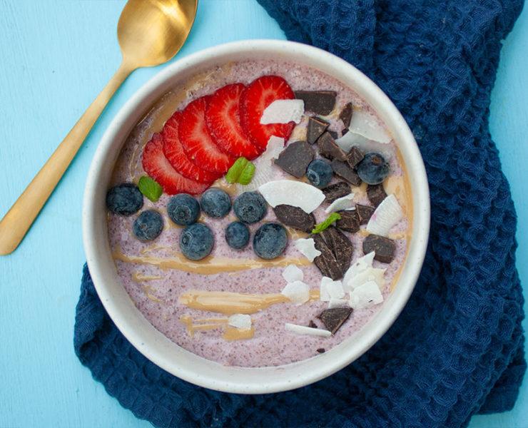 Strawberry and Cream Chia Pudding Breakfast Bowl