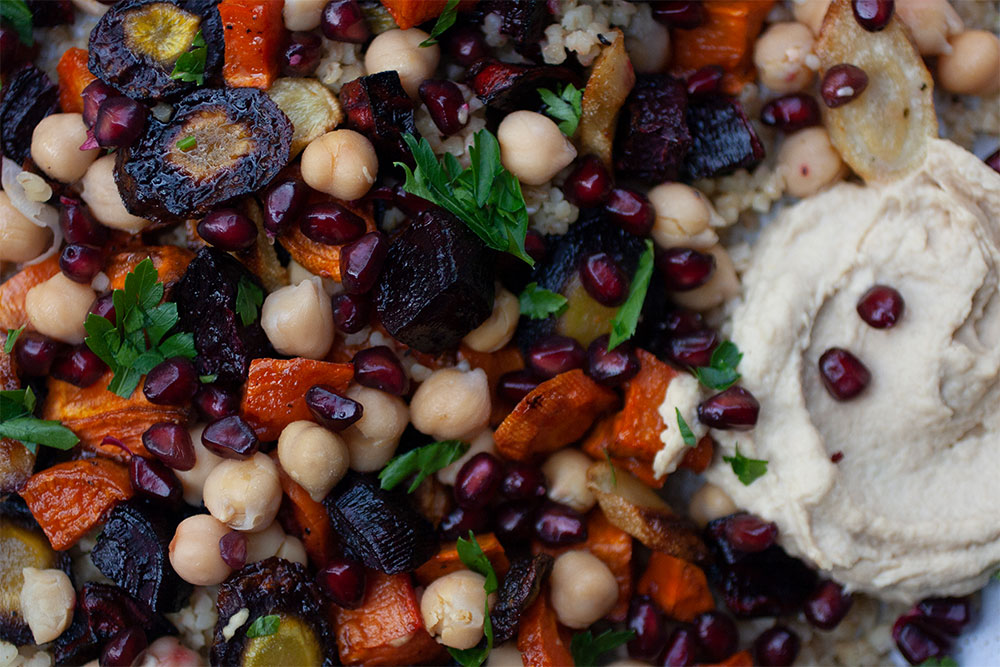 Roasted Veg & Grain Salad with Hummus