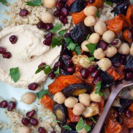 Roasted Veg & Grain Salad with Hummus
