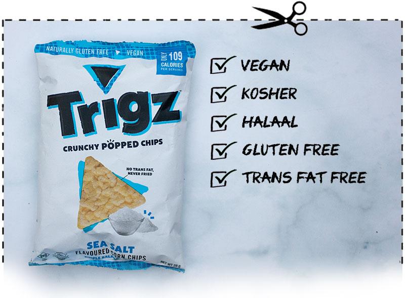 Trigz Crunchy Popped Chips in Sea Salt