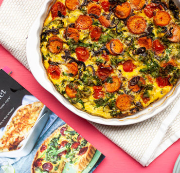 A sweet potato, kale & plum tomato frittata from the Guilt Free Gourmet