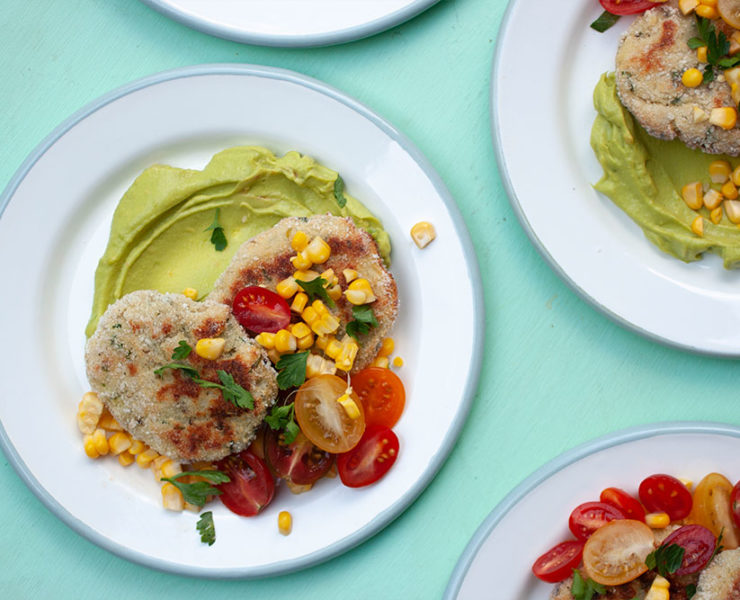 Hake Patties with Avocado Cream, Cherry Tomatoes and Corn