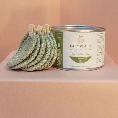 Small Silver Green Bamboo Makeup Removal + Toning Pads
