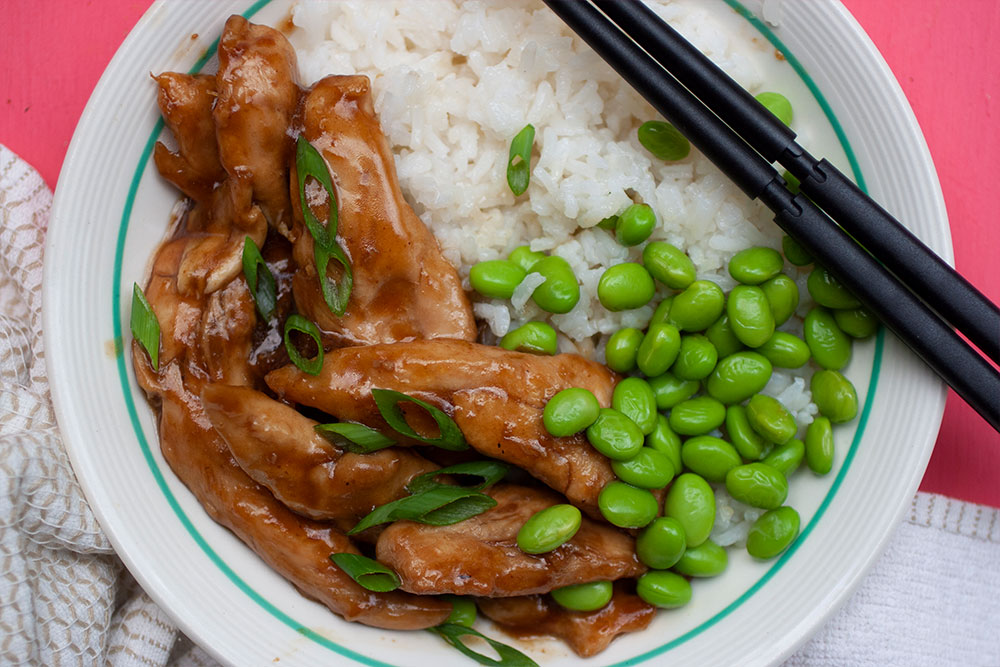 Teriyaki Chicken Strips with Rice and Edamame