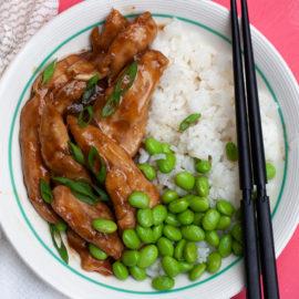 Teriyaki Chicken Strips with Rice and Edamame