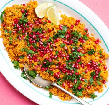 Yellow Cauliflower Rice with Pomegranates