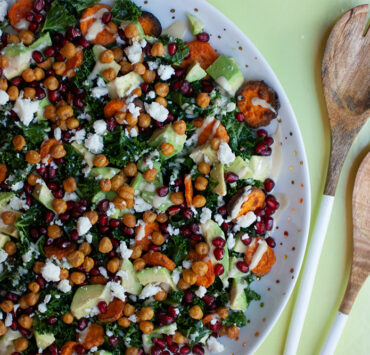 A Sweet and Tangy Winter Salad with Crispy Garlicky Croutons and Feta