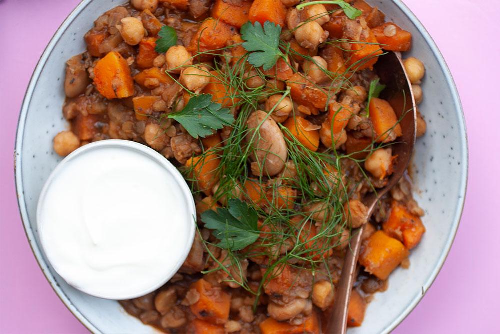 North African Butter Bean, Barley, Sweet Potato & Butternut Casserole from Out of an African Kitchen