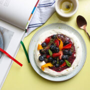 A Berry Platter with Labneh and Orange Oil from Ottolenghi Flavour