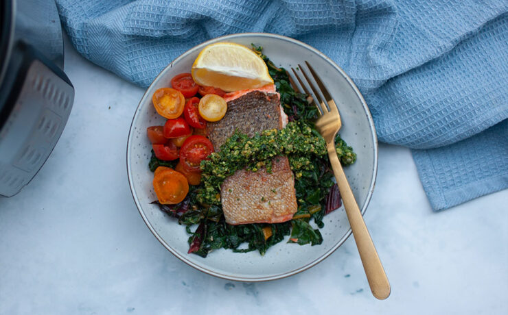 Instant Pot Sous Vide Rainbow Trout with Mint Pistachio Gremolata