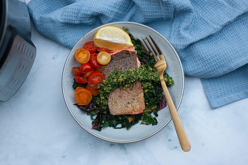 Instant Pot Sous Vide Rainbow Trout with Mint Pistachio Gremolata