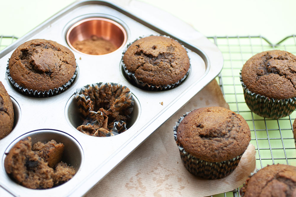 Chocolate Chunk Gingerbread Muffins