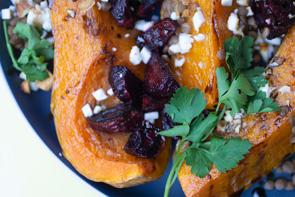 Roasted Beetroot and Butternut with Feta and Almonds from Dinner at Matloha's