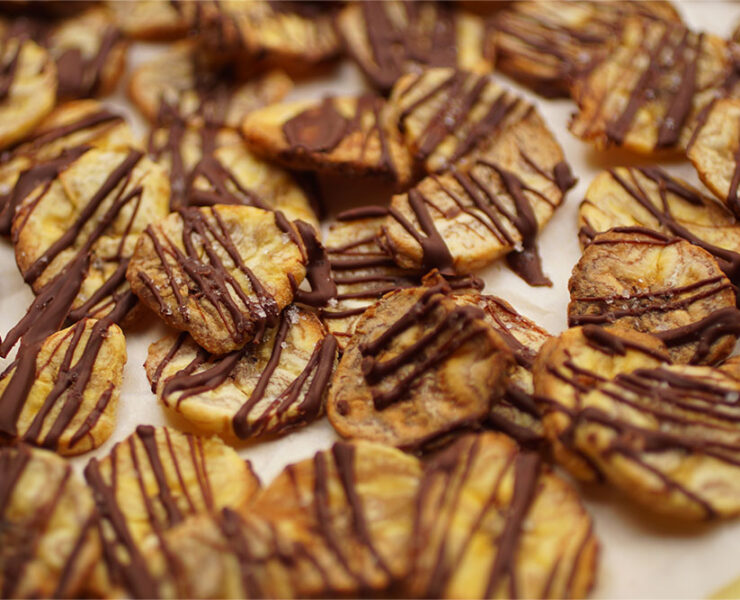 Dark Chocolate Drizzled Plantain Chips with Fleur de Sel